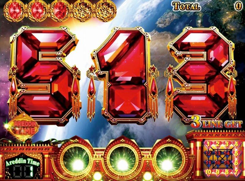 リプレイ当選で液晶右下にある4×4コマのマス(アレスロ)が点灯。16ゲーム1セットで、アレスロラインが揃えば揃うほど、AT突入やセット数上乗せのチャンスとなる。