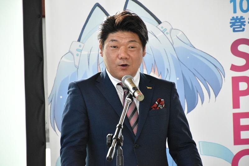 発表会のあいさつでは大泉社長が、1000ちゃんに対する熱い想いを語った。