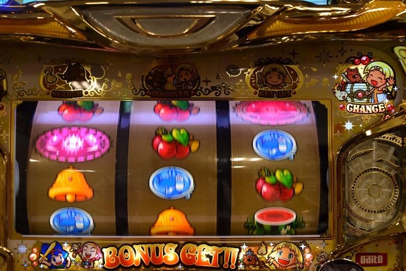 ボーナス中はリール左横にあるチャンスランプ点灯時に、逆押しで左リール中段or下段に白バーを狙えば最大枚数を獲得できる。