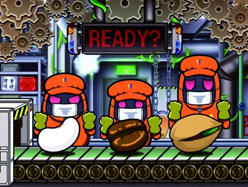 「工場で豆モード」は豆を検品し爆発すれば大当たり。