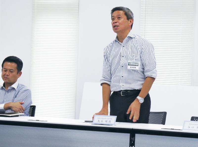 訓練後には大石明徳 取締役経営企画本部長が総括を述べた。