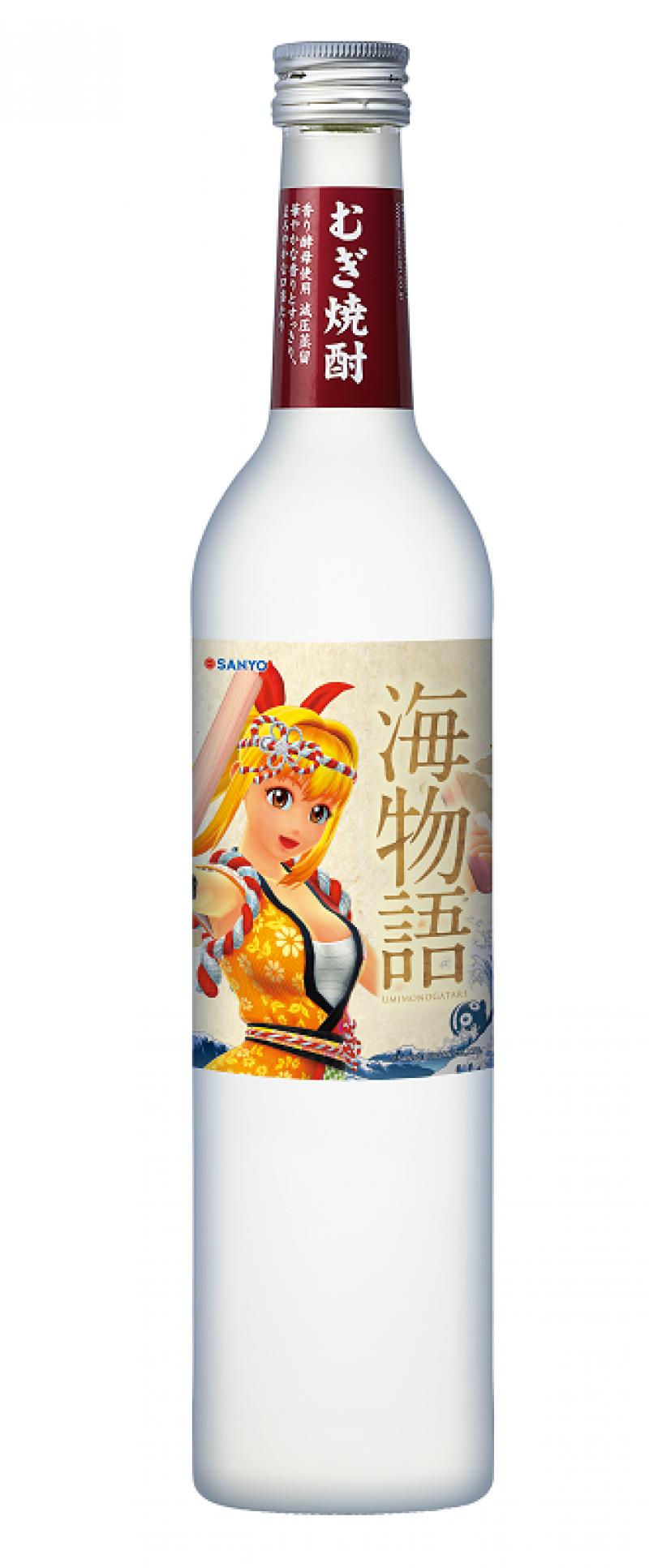 オリジナルラベルが貼られたむぎ焼酎ボトルの販売も行われている。