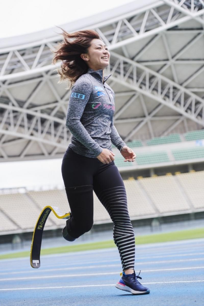 陸上の中西麻耶選手は個人として日電協の支援を受ける。