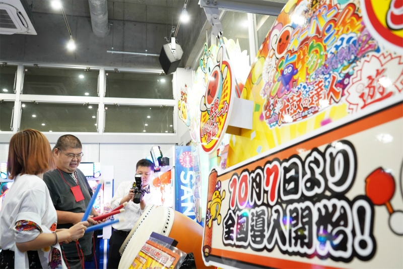 会場ではアーケードゲーム『太鼓の達人』の実機の体験プレイも行われた。