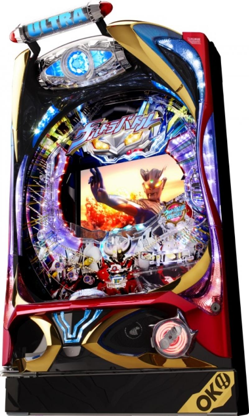 ギミック満載の新筐体「ULTRA STAR」をまとって登場した『ぱちんこウルトラバトル烈伝 戦えゼロ!若き最強戦士』。 (C)円谷プロ (C)OK!!