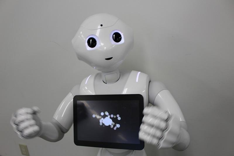クーポン情報誌のロボット広報に就任した「Pepper」。同誌オリジナルプログラミングで、なんば地域の方と交流を深めながら掲載情報をPRしていく予定だ。